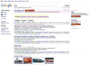 Search for cars in Google India