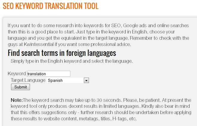 SEO keyword translation tool